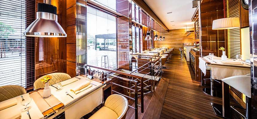 Teak flooring and wood in restaurant