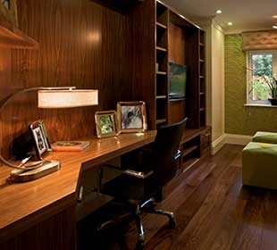 Office with teak wood flooring