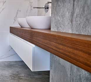 Bathroom with teak countertop