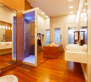 Bathroom with teak flooring