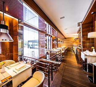 Restaurant with teak wood floor and walls