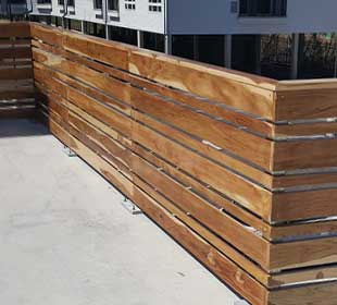 Teak wood deck railing