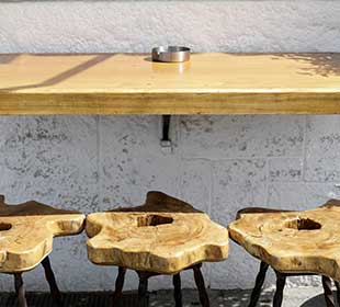 Teak cookie stools and outdoor table