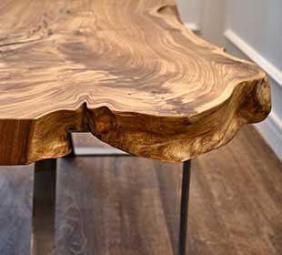 Detail of teak wood bench