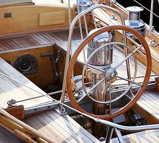 Teak wood on a sailboat