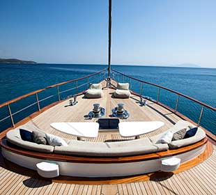 Sailboat deck with marine teak