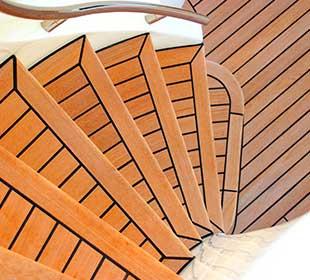 Marine grade teak on stairs