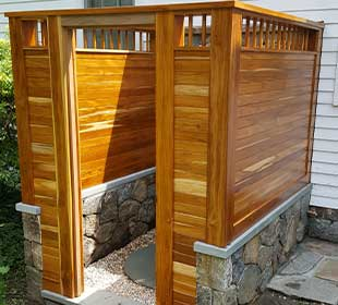 Outdoor shower made of teak