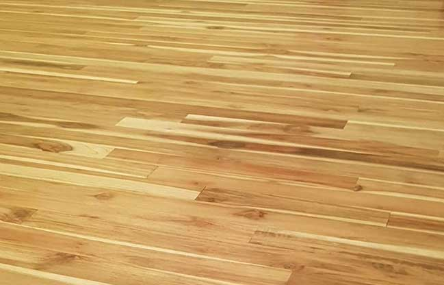 Beautiful teak wood flooring in a kitchen